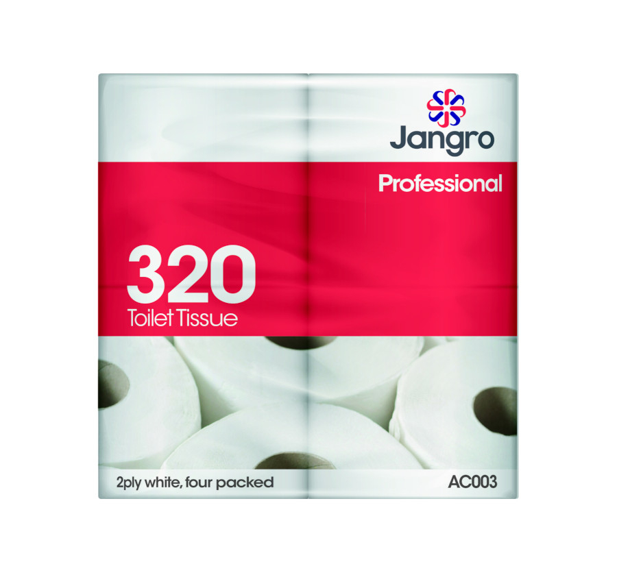 Jangro 320 sheet, Twin Wrapped Toilet Roll