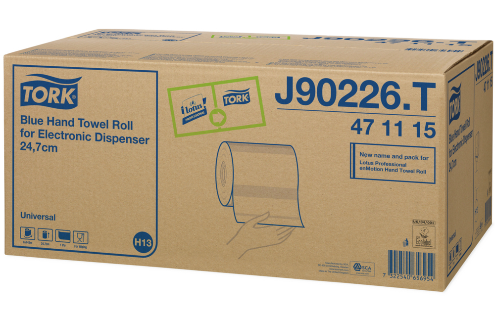 TORK ROLL TOWEL Blue for Elec Disp 1ply 143metre x 24.7cm