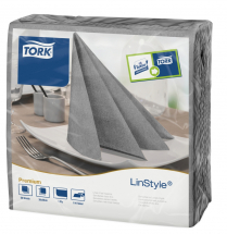 Tork Linstyle Dinner Napkin 4 Fold 39x39cm 1ply Grey