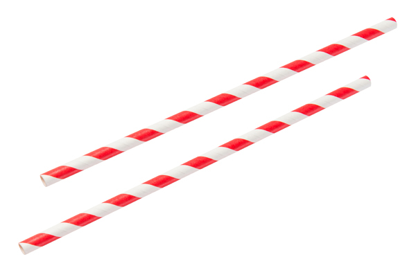 PAPER STRAWS Red and White 8inch x 6mm (1x250)