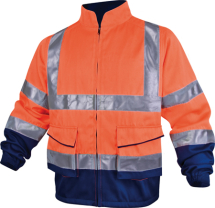 HI VIZ JACKET, Class 2, Orange/Navy, MEDIUM
