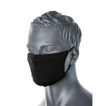 BLACK WOVEN FABRIC FACE MASK - WASHABLE 3PLY, 25 PER PACK