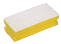 Soft Easigrip Sponge Scouring Pad Packs of 10 Yellow/White (140x68x48mm)