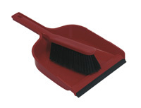 Colour-coded Dust Pan & Brush set, Stiff - Red